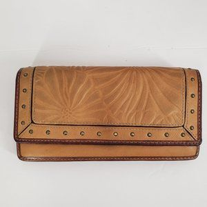 Fossil Tooled Leather Flap Clutch Wallet